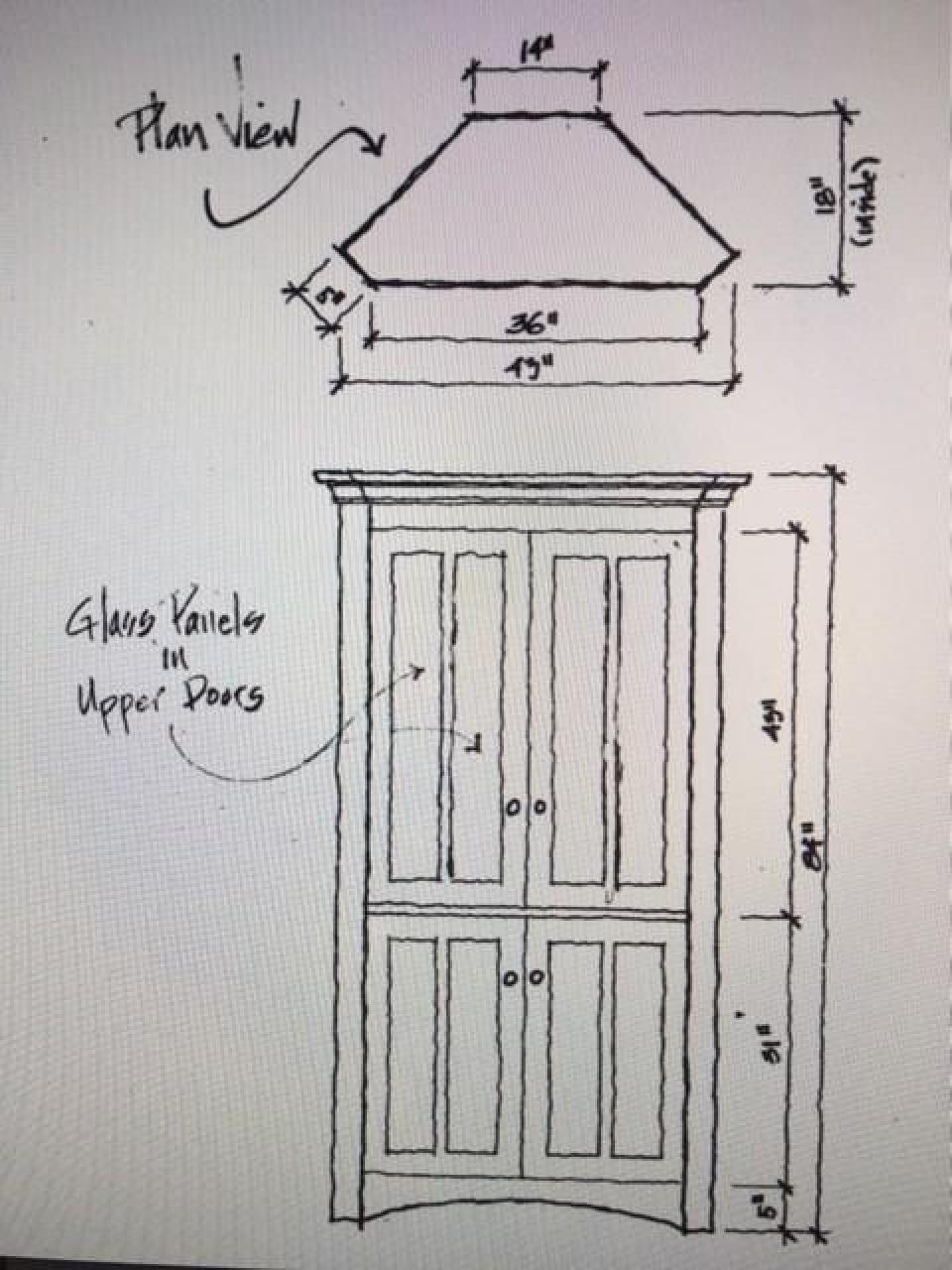corner cabinet design sketch