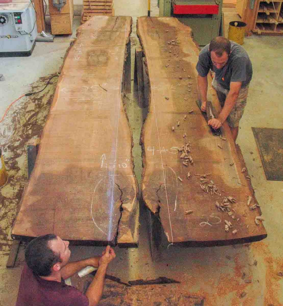 Austin hand-planing book matched slabs for a dining table