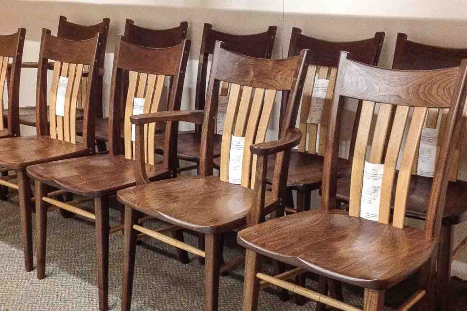 mixed wood Williams dining chairs