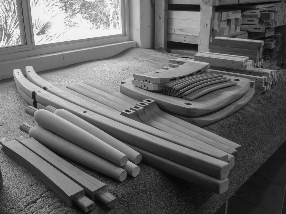 barstool parts awaiting assembly