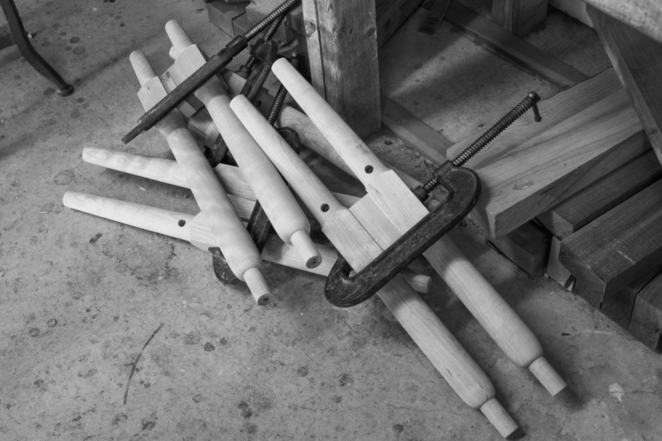 Berry barstool legs in clamps to secure transistion blocks