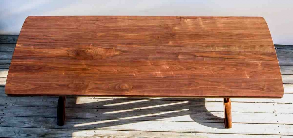 walnut dining table top in the sun