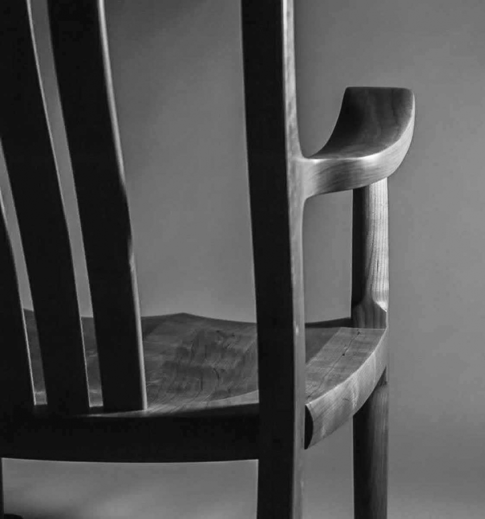 Rocking Chair Close Up Back View, B&W