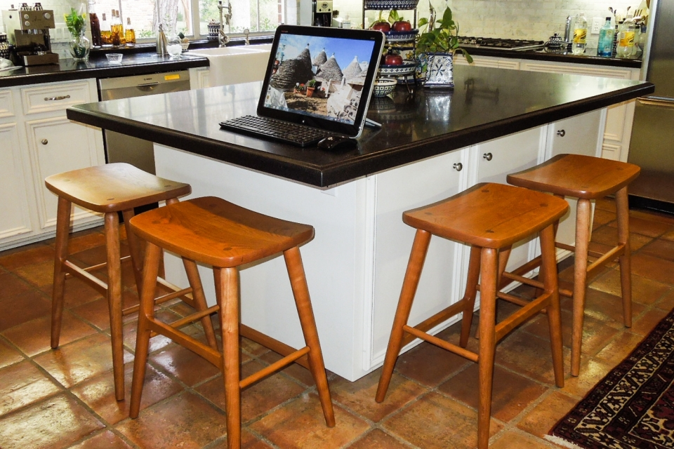 four Berry barstools, on two sides of kitchen counter