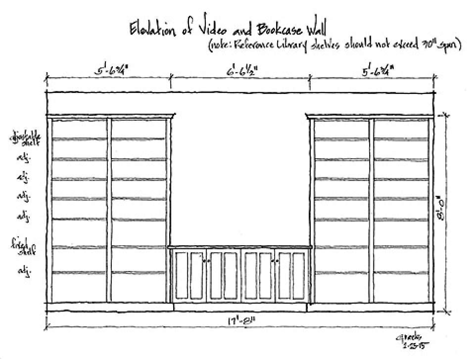 drawing of conference room bookshelf wall elevation