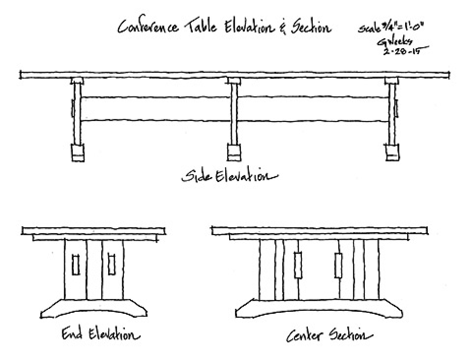 conference room table elevation drawing