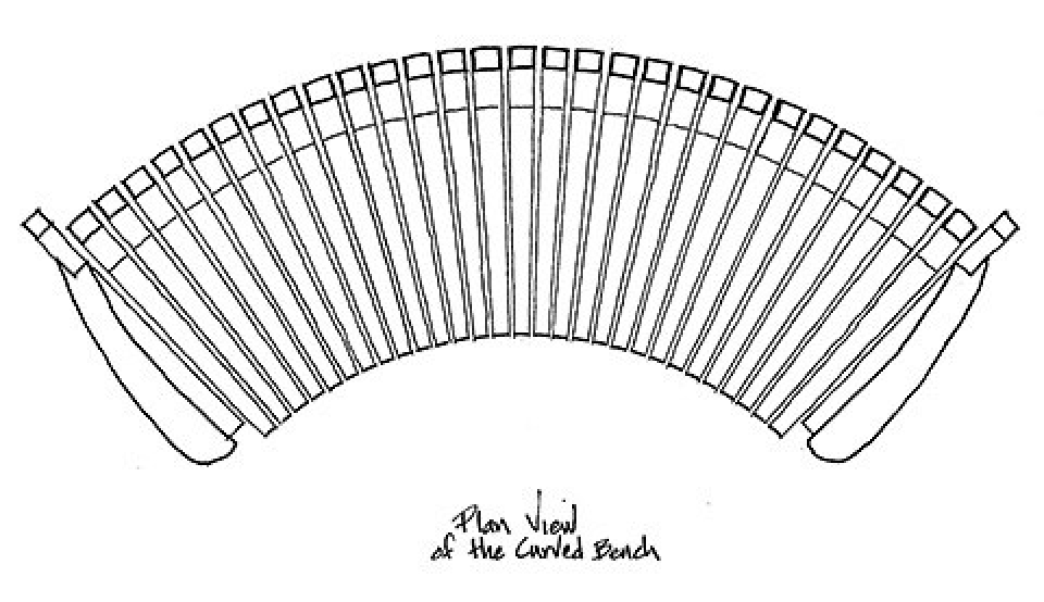 drawing of curved bench, overhead view