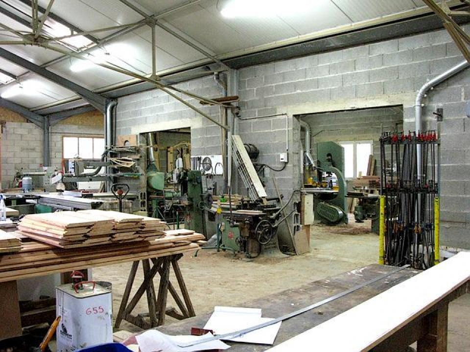 interior of woodshop in France