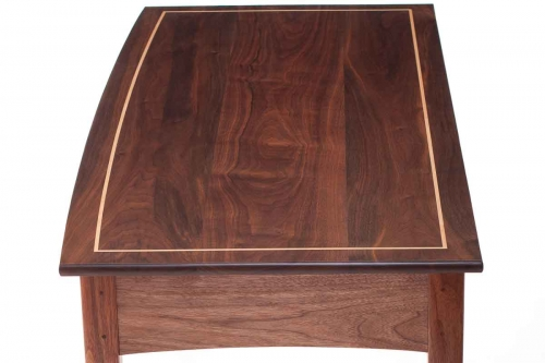 stringing in bow front writing desk top