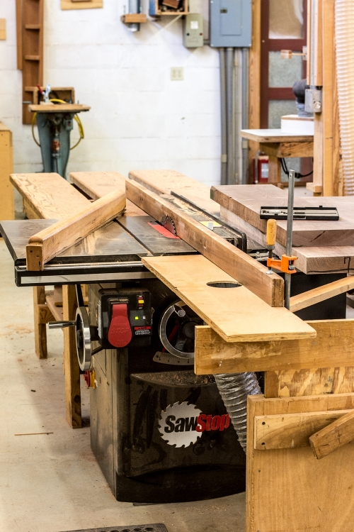 Table saw set up for sawing rocker laminations