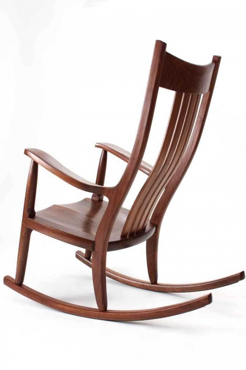 Walnut rocking chair, back quarter view