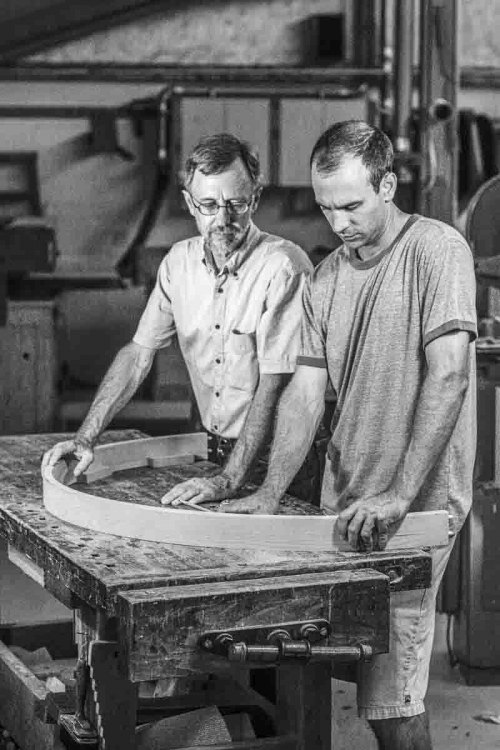 Gary and Austin with curved apron on the bench