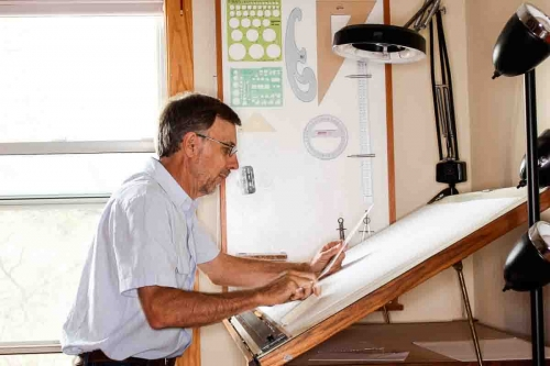 Gary at the drawing board