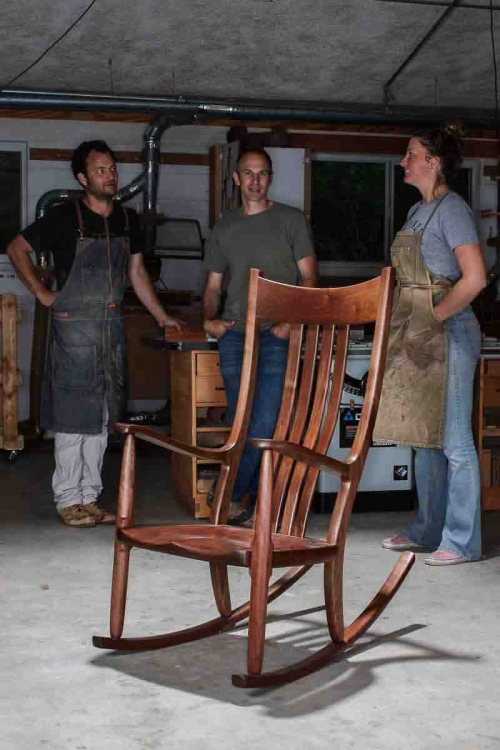 Will, Austin, and Autumn with walnut rocking chair