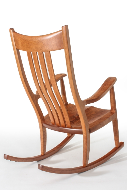 cherry rocking chair, back quarter view
