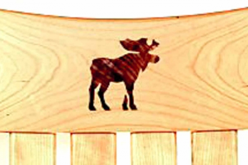 Rocking chair inlay, moose