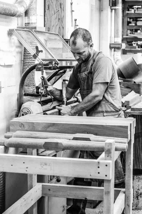 Will at lathe with barstool legs