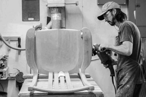 Bonner sculpting a rocking chair