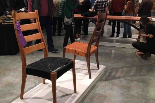 dining chairs and ribbon at Texas Furnituremakers Show