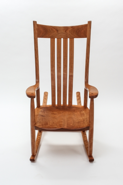 cherry rocking chair, front view