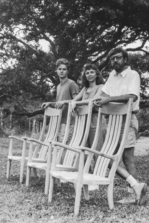 Noah, Gary, Leslie with rocking chairs