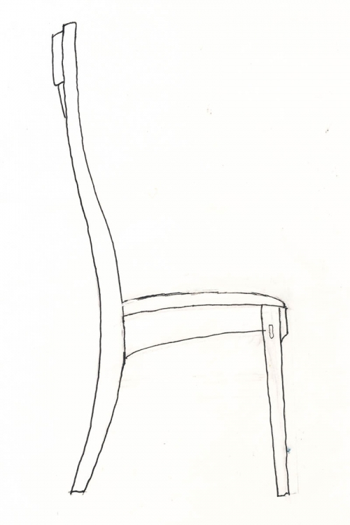 upholstered dining chair drawing