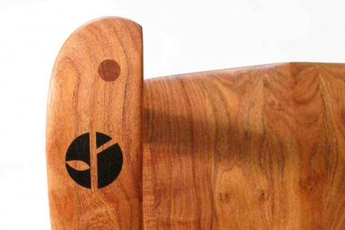 logo inlay in rocking chair arm