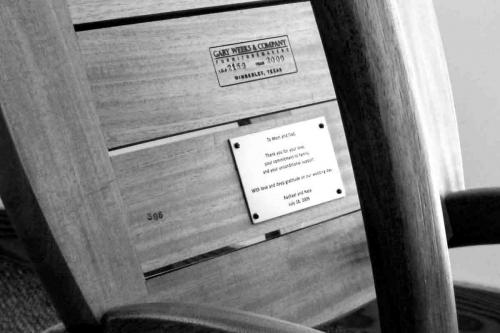 bronze plaque on rocking chair bottom