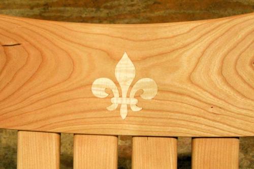 Rocking chair inlay, fleur de lis