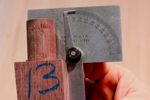 measuring angle on chair leg tenon