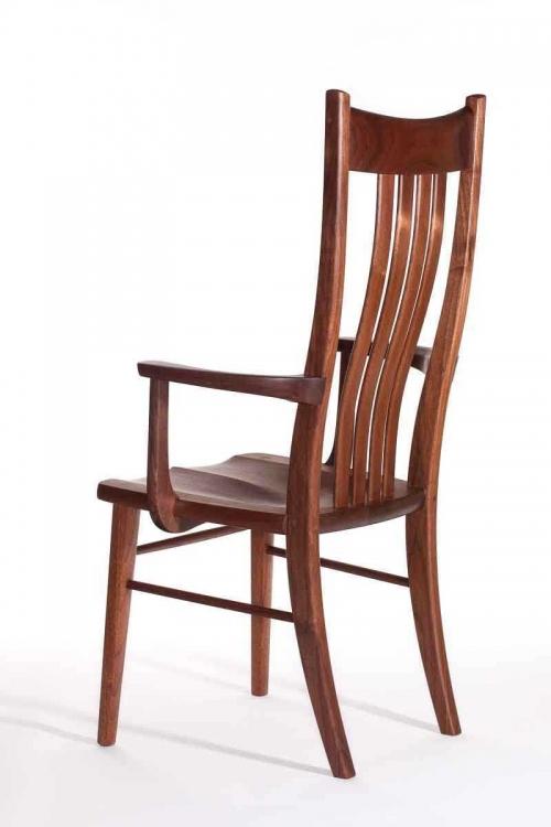 walnut Wilson arm chair, back quarter view