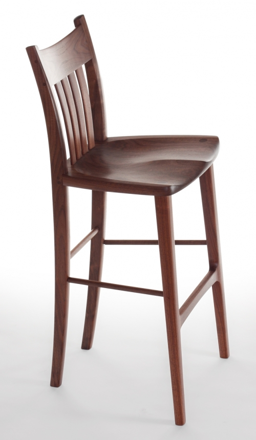 Heflin barstool in walnut, studio view