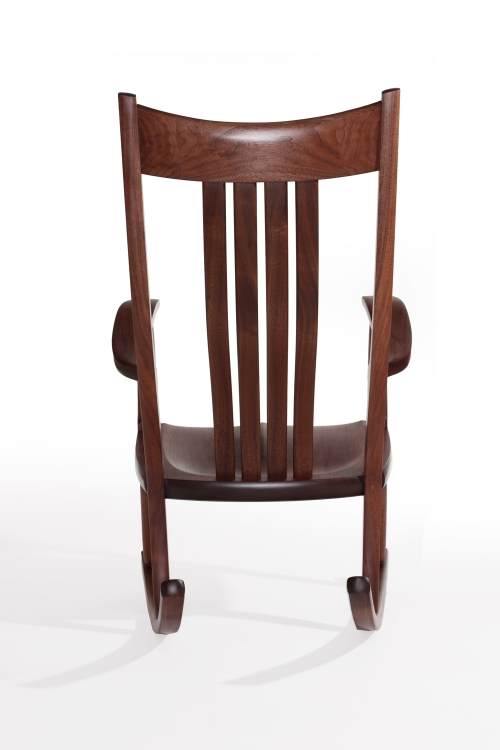 walnut rocking chair, rear view