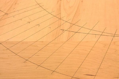 points on an ellipse drawn on plywood