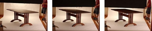trestle table top in three different photo light sets